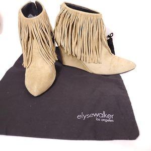 Elyse Walker Wedge Heel Fringe Suede Bootie Siz 40